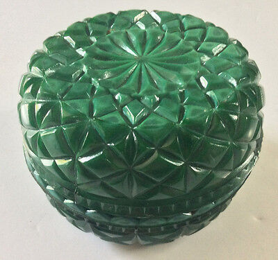 Antique Scarce Bohemian Czech Malachite Glass Powder Jar