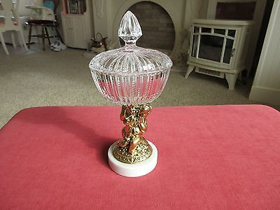 Ornate Crystal Covered Compote Dish Brass Cherub Pedestal Marble Base Italy