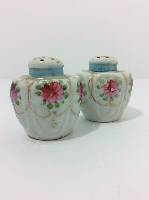 Antique Porcelain Salt And Pepper Shakers Hand Painted Flowers with Gold Trim |