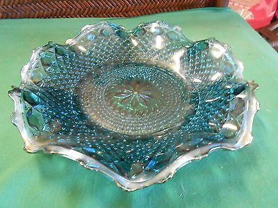 Beautiful Vintage Indiana Glass CARNIVAL Blue Glass Ruffled Serving DISH