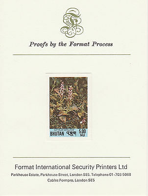 Bhutan 2613 - 1985 UNISSUED ORCHID 5nu on Format International PROOF  CARD