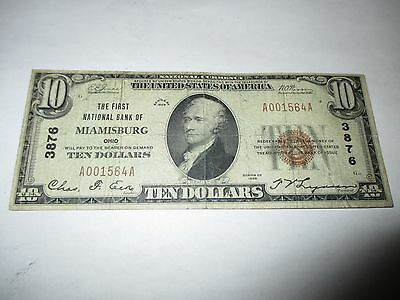 $10 1929 Miamisburg Ohio OH National Currency Bank Note Bill Ch. #3876 Fine!