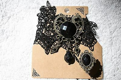 Goth jewelry set bracelet ring Black lace black stone gold tone