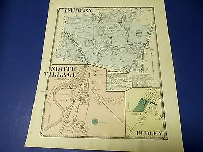 Antique 1870 map of Dudley Ma. by Beers.