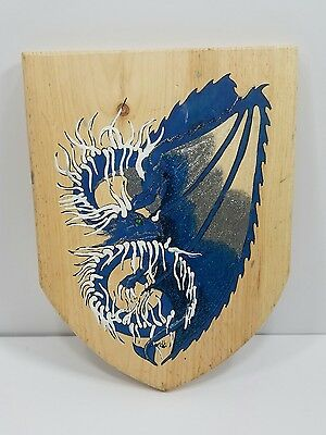 Blue Dragon Painted Wood Sheild from Georgia Renaissance Festival