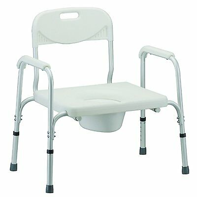 NOVA Heavy Duty Commode with Back & Wide Seat, White, 24 Pound