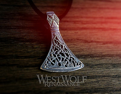 Viking Axe Head Pendant in Sterling Silver -- Norse/Celtic/Medieval/Perun/Thor