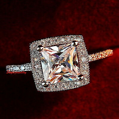 Rose Gold Plated Women Princess Made with Swarovski Crystal Engagement Ring R79