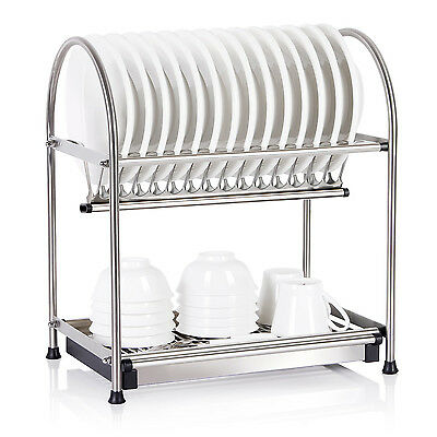 Lifewit 2-Tier Dish Drying Rack Dish Drainer with Draining Tray Cutlery Holder