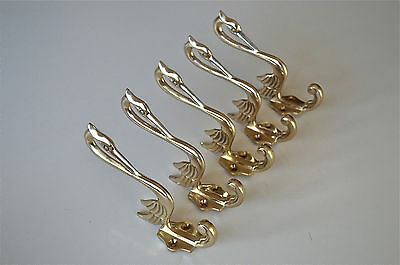 Set of 5 beautiful Arts & Crafts brass heron coathook wall door hanger hook AL76