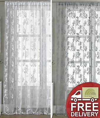Long Vintage Style Lace Floral Net Voile Curtain Panel Colours White And Pewter