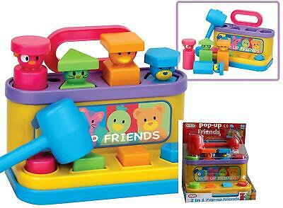 Kids Multi Colored Pop Up Friends with Hammer and Shape Sorter Toy