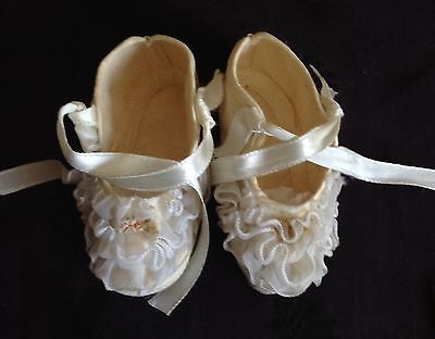 antique fabric tiny baby shoes with ruffles and ribbons, no label, very sweet!