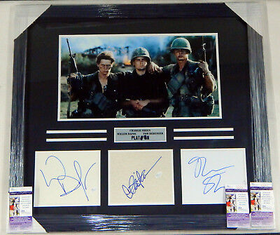 Charlie Sheen/Stone/Dafoe Signed Display Piece Framed Matted JSA Auto