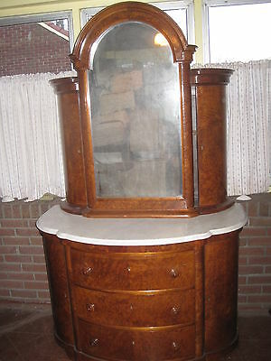 """Antique Chest Of Drawers Dresser With Mirror Marble Top  Burled Walnut 79"""" Tall"""