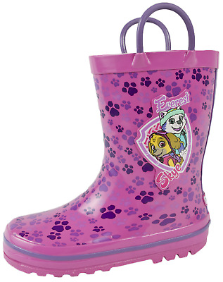 Paw Patrol Rubber Wellies Pull On Handles Girls Snow Rain Wellington Boots Size