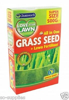 All In One Grass Seed Lawn Fertiliser 500G Pack Quick Easy Garden Hard Wearing
