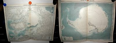Polar Region's Book Plate Maps - From the Times Atlas 1922-John Bartholomew x 2