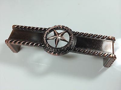 Star With Barbwire Pull Antique Copper Western Cabinet Hardware Drawer Pulls