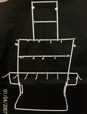 "Store Display Fixtures 19 HOOK WIRE COUNTERTOP PEG DISPLAY White 17"" tall"