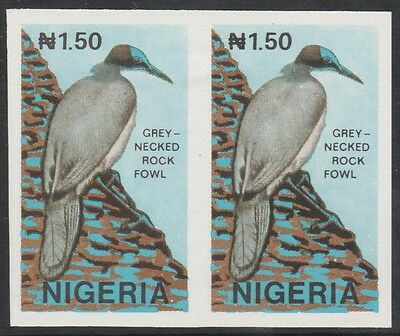 Nigeria 2650 - 1990 WILDLIFE - CROW (Rock Fowl)  IMPERF PAIR unmounted mint