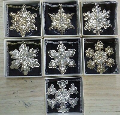 Vintage Gorham Sterling Silver Snowflake Christmas Ornament 1971-1977 Lot of 7