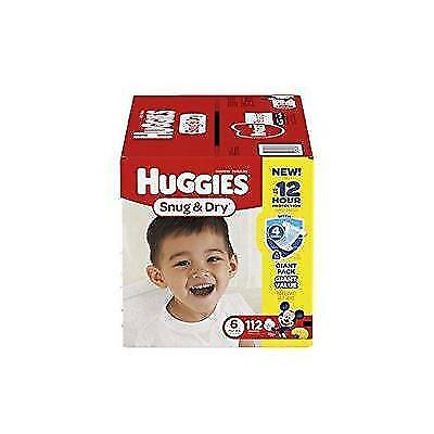 HUGGIES Snug & Dry Diapers, Size 6, 112 Count New