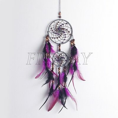 Dream Catcher Black/Purple Wall Car Hanging Decoration Bead Ornament Feathers