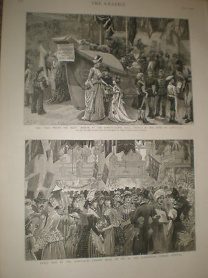 Fancy Fair at the Athenaeum Camden Road London 1886 old print ref BW