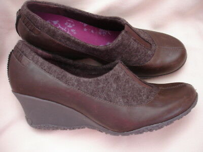 Merrell Tulip Espresso Brown Leather Wedge Heel Q-Form Insole Sz 11 Nwot $90