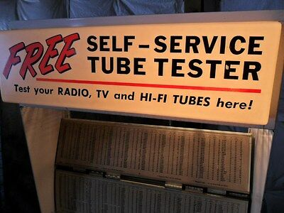 +++ Mercury SELF SERVICE DRUG STORE TUBE TESTER w/Stand & LIGHTED SIGN +++