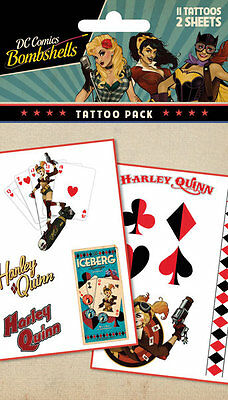 Official Harley Quinn Bombshell Tattoo Pack Pack of 10 DC Comics