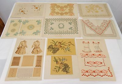 Lot of 9 ANTIQUE FANCY NEEDLEWORK PATTERN DESIGNS 1888 1890 1892-1895