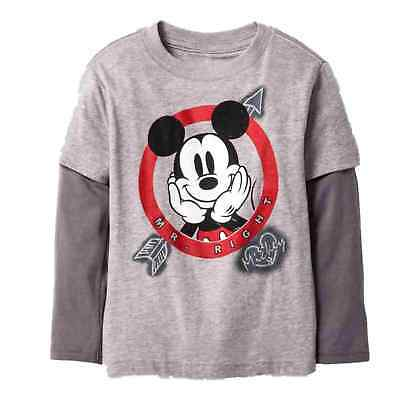 cc7bdd951 Disney Infant Toddler Boys Mickey Mr Right Valentine Long Sleeve T-Shirt Tee
