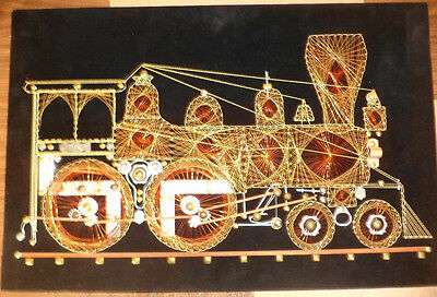 Exceptional-Vintage-Large-Copper-Wire-String-Art-Train-Locomotive SYMMOGRAPHY