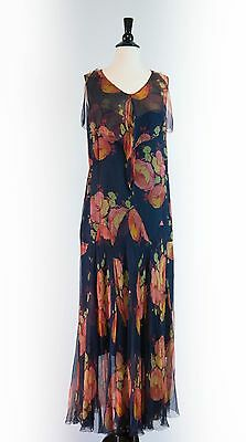 Rare 1920s 1930 Antique Flapper Blue bias Silk Chiffon Floral Printed Gown Dress