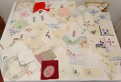 Lot of 73 Antique Vintage FANCY Embroidered Handkerchief HANKIES Floral