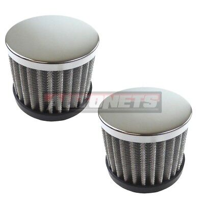 "2x Chrome Steel Washable Filter Push-In Valve Cover Breather 1-1/4"" Hole SBC BBC"