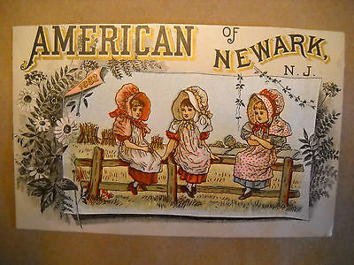 AMERICAN OF NEWARK N.J. 1882 antique TRADE CARD CHROMO 3 girls sit on fence