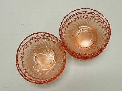 9 Vintage Arcoroc Rosaline Pink Glass Swirl Bowls Berry Dishes France