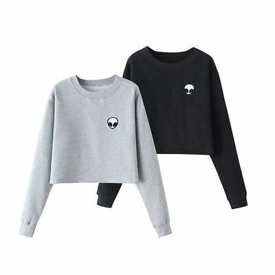 Women Cropped Top Long Sleeve T-shirt Casual Tee Short Type Belly Pullover Shirt