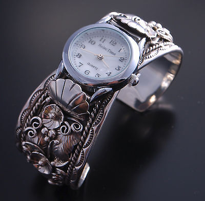 All Silver Feather and Petals Watch Cuff with Watch ~ Navajo Handmade  LC02S
