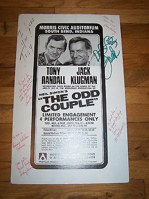 Tony Randall Jack Klugman The Odd Couple 1973 Signed Autograph By Cast Rare!