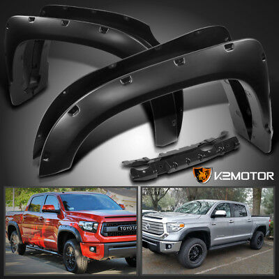 2014-2017 Toyota Tundra 4PC Pocket Rivet Style Bolt On Fender Flares Black
