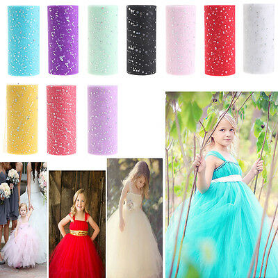 25Y Glitter Sequin Tulle Roll Spool Tutu Wedding Wrap Fabric Craft Decorations