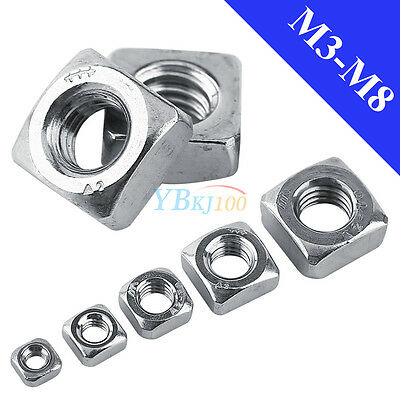 20/100pcs M3 M4 M5 M6 M8 304 Stainless Steel Square Nuts DIN557 to Bolts Screws