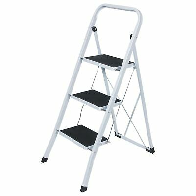 3 Step Ladder Heavy Duty Strong Folding Non Slip Metal Kitchen Stepladder New