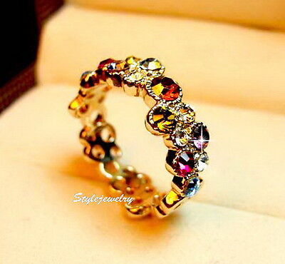 18k Rose Gold Plated Colorful Party Circle Ring Made With Swarovski Crystal R190