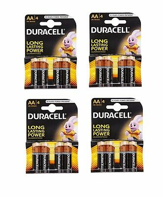 16 Duracell AA MN1500 LR6 MN1500 Alkaline Batteries - 4 Pack x 4 Multi Use