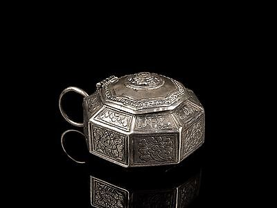 An Antique 19th c. Malay Silver Betel Lime Box.